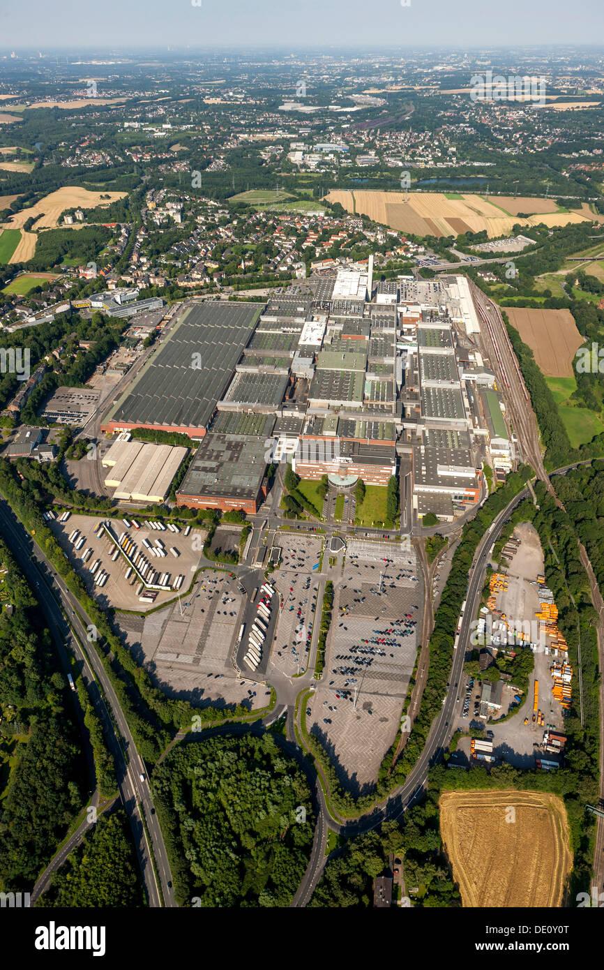 Aerial view, Opel car plant, Opelwerk 1, General Motors, manufacturing halls, Bochum, Ruhr Area, North Rhine-Westphalia - Stock Image