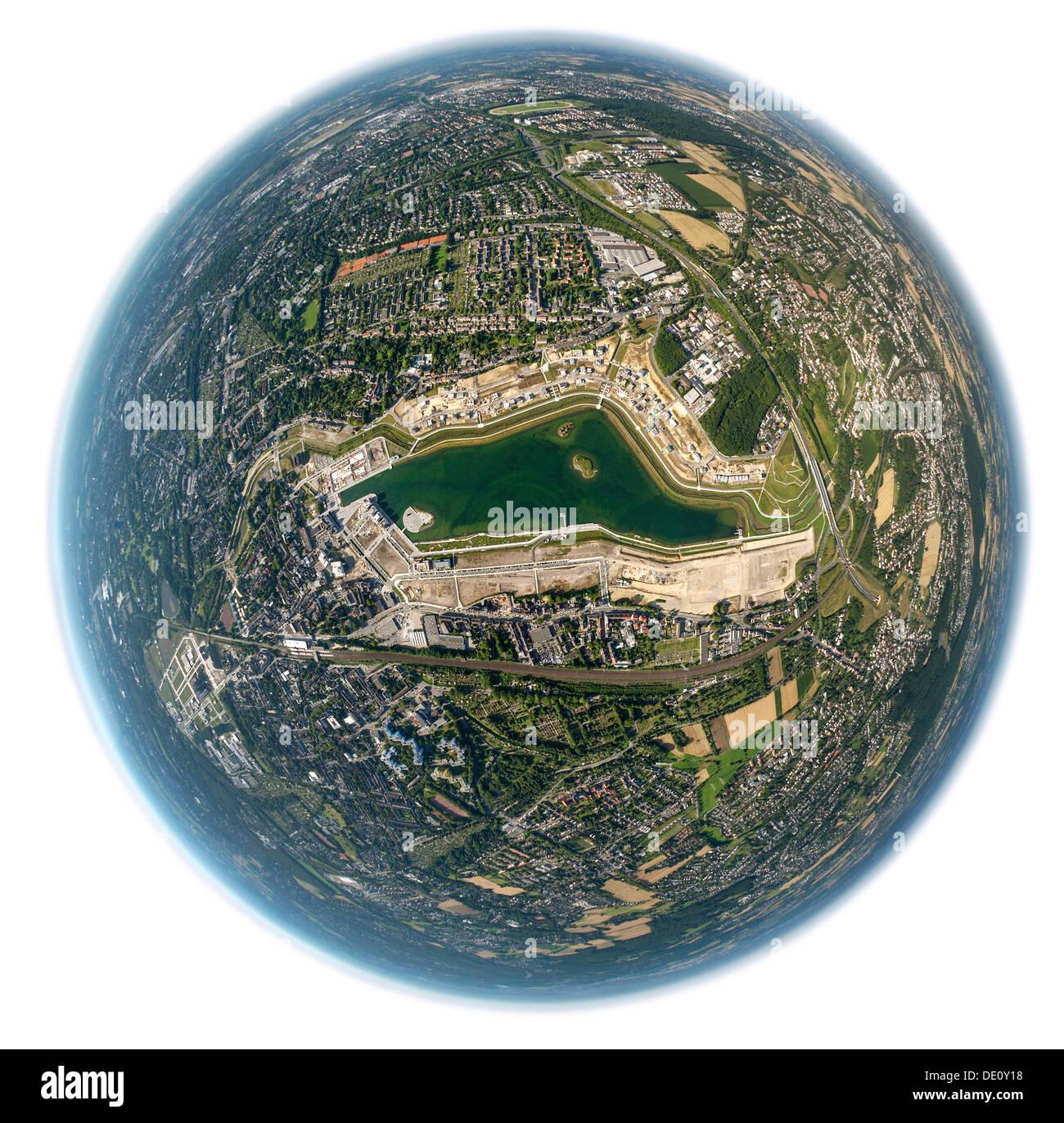 Aerial view, fisheye shot, Phoenix-See lake, Hoerde, Dortmund, Ruhr Area, North Rhine-Westphalia - Stock Image