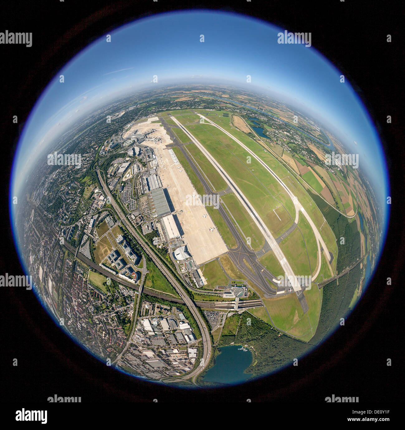 Aerial view, fisheye shot, Duesseldorf Airport, runways 23L and 23R, Duesseldorf, North Rhine-Westphalia - Stock Image