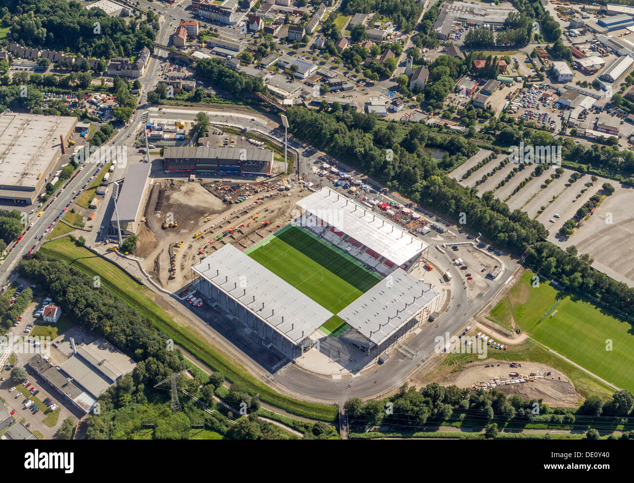 Aerial view, the newly opened stadium in Essen, Ruhr Area, North Rhine-Westphalia - Stock Image