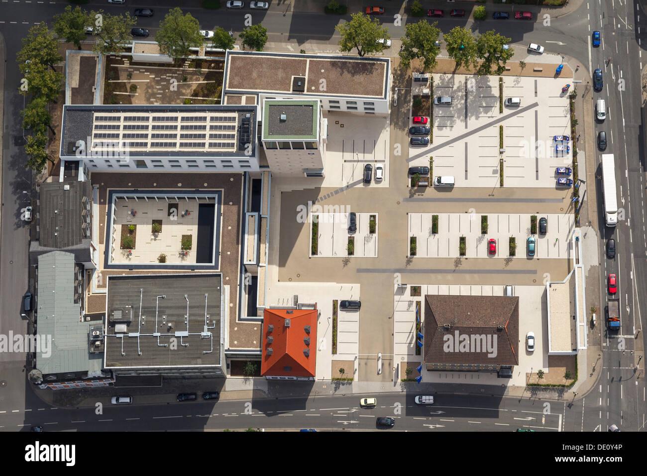 Aerial view, members' oasis of Volksbank Hamm, neu building in Bismarckstrasse street, Hamm, Ruhr Area, North Rhine-Westphalia - Stock Image