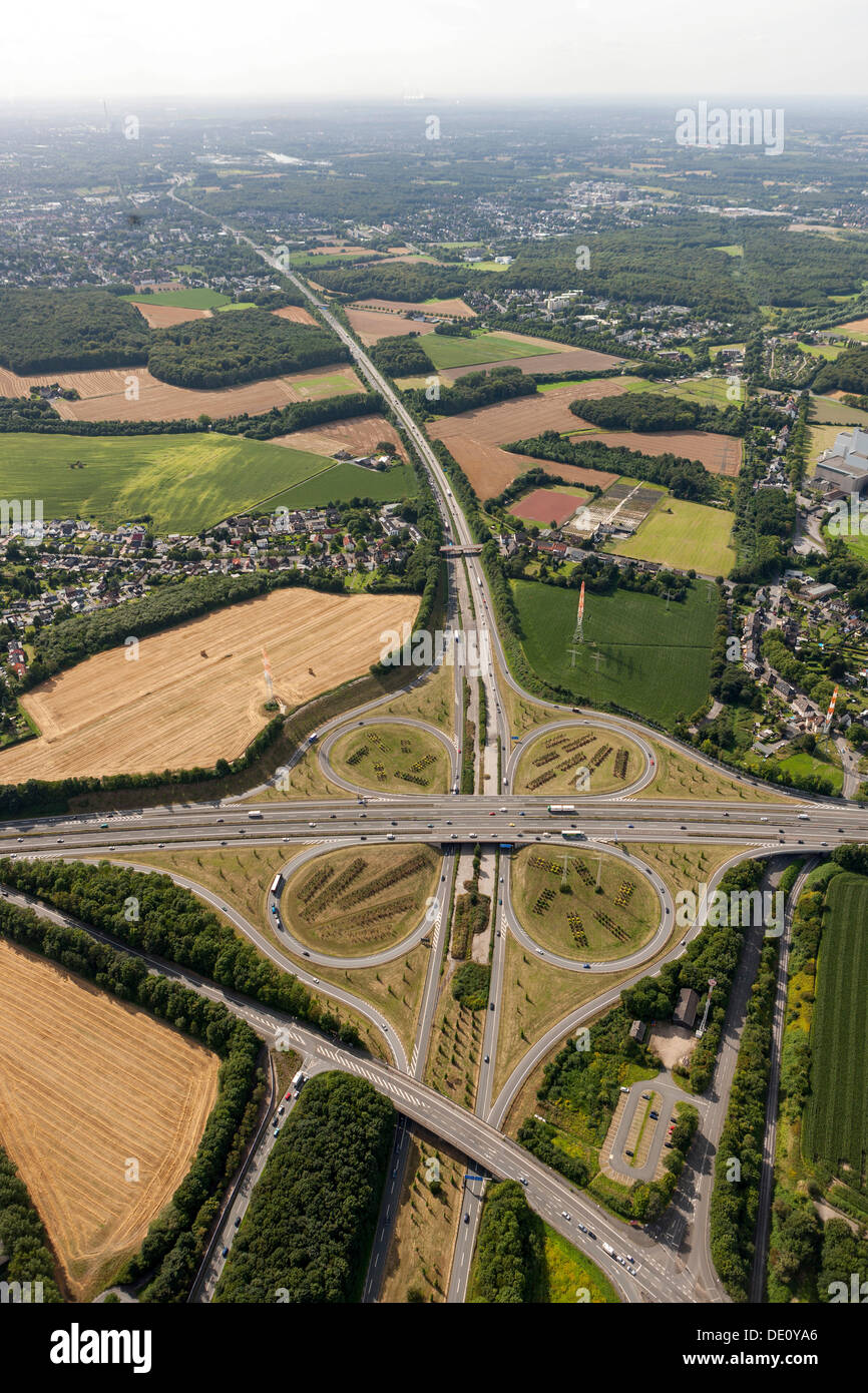 Aerial view, DO-Bodelschwingh motorway intersection, CAS-Ost motorway A45 motorway and A42 motorway, Dortmund, Ruhr area - Stock Image