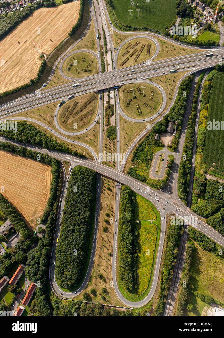 Aerial view, DO-Bodelschwingh motorway intersection, CAS-Ost motorway, A45 motorway and A42 motorway, Dortmund, Ruhr area - Stock Image