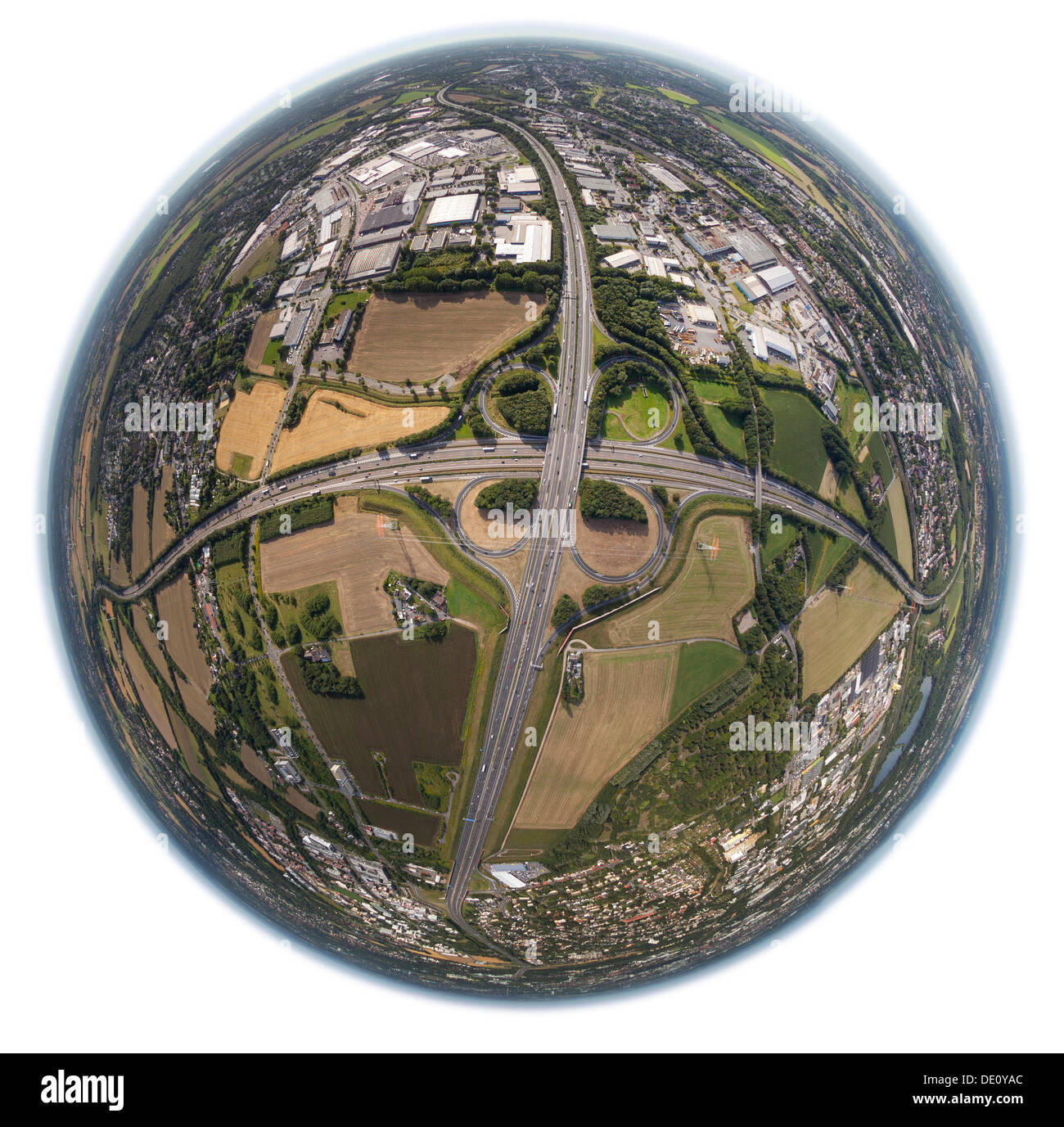 Aerial view, shot with a fisheye lens, Dortmund West motorway intersection, A45 motorway and A40 motorway, Dortmund, Ruhr area - Stock Image