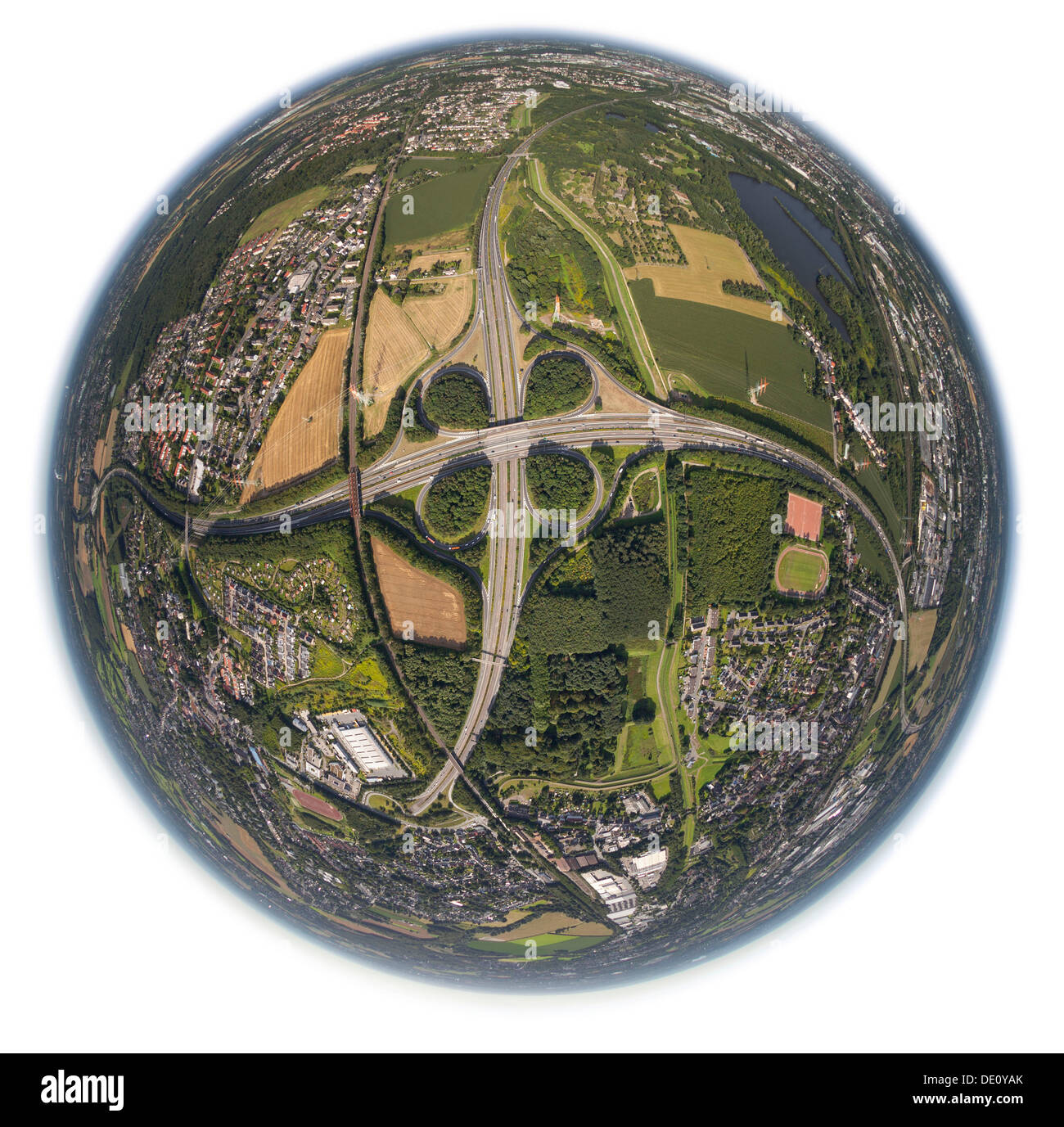 Aerial view, shot with a fisheye lens, motorway intersection, Dortmund, Ruhr area, North Rhine-Westphalia - Stock Image