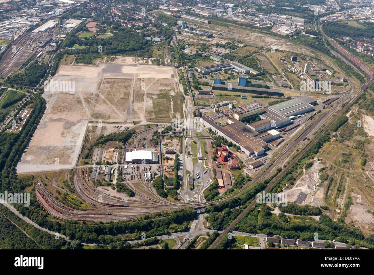 Aerial view, industrial wasteland, ThyssenKrupp Logistik, Hoesch-area, Dortmund, Ruhr area, North Rhine-Westphalia - Stock Image
