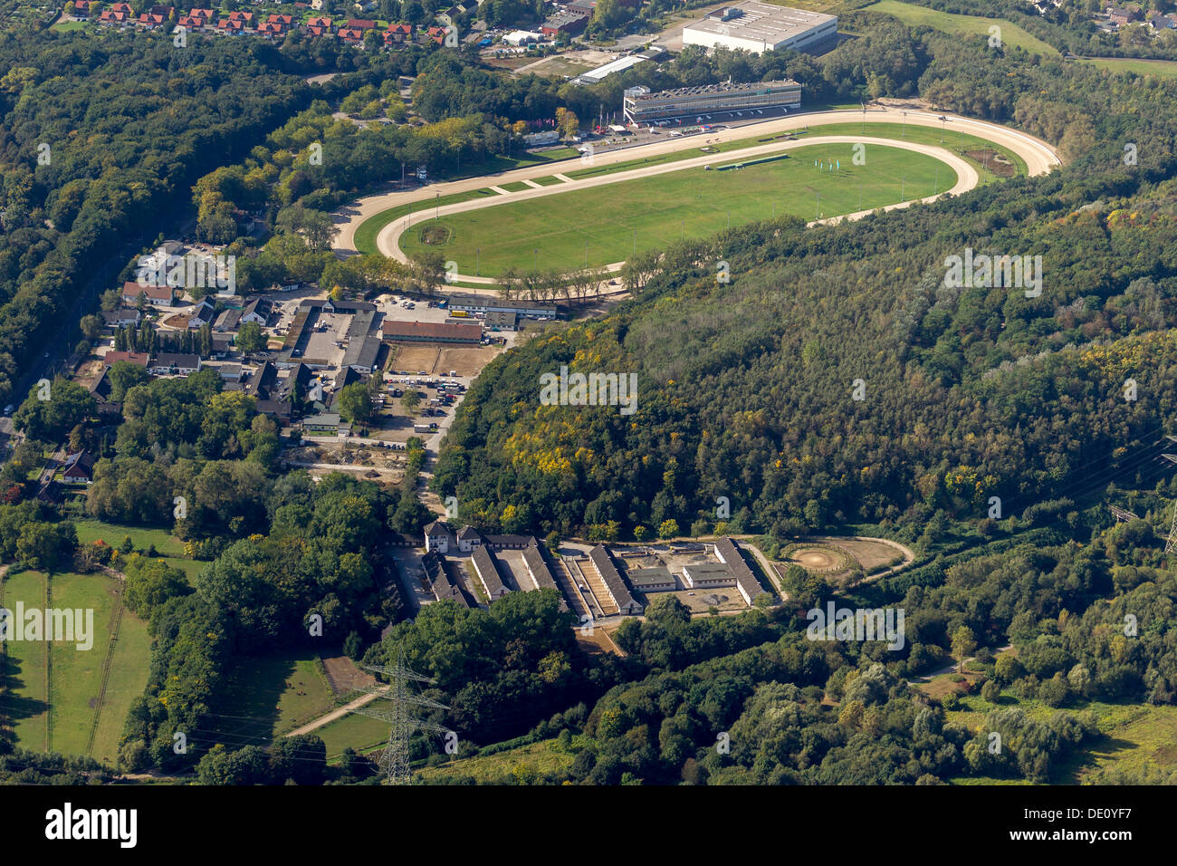 Aerial view, Feldmark trotting course with stables, Gelsenkirchen, Ruhr area, North Rhine-Westphalia - Stock Image