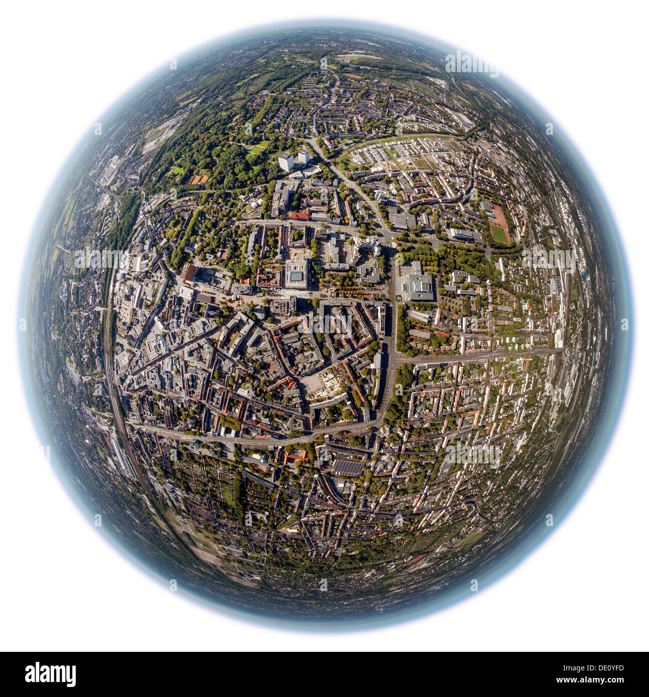 Aerial view, shot with a fisheye lens, city centre of Gelsenkirchen, Ruhr area, North Rhine-Westphalia - Stock Image