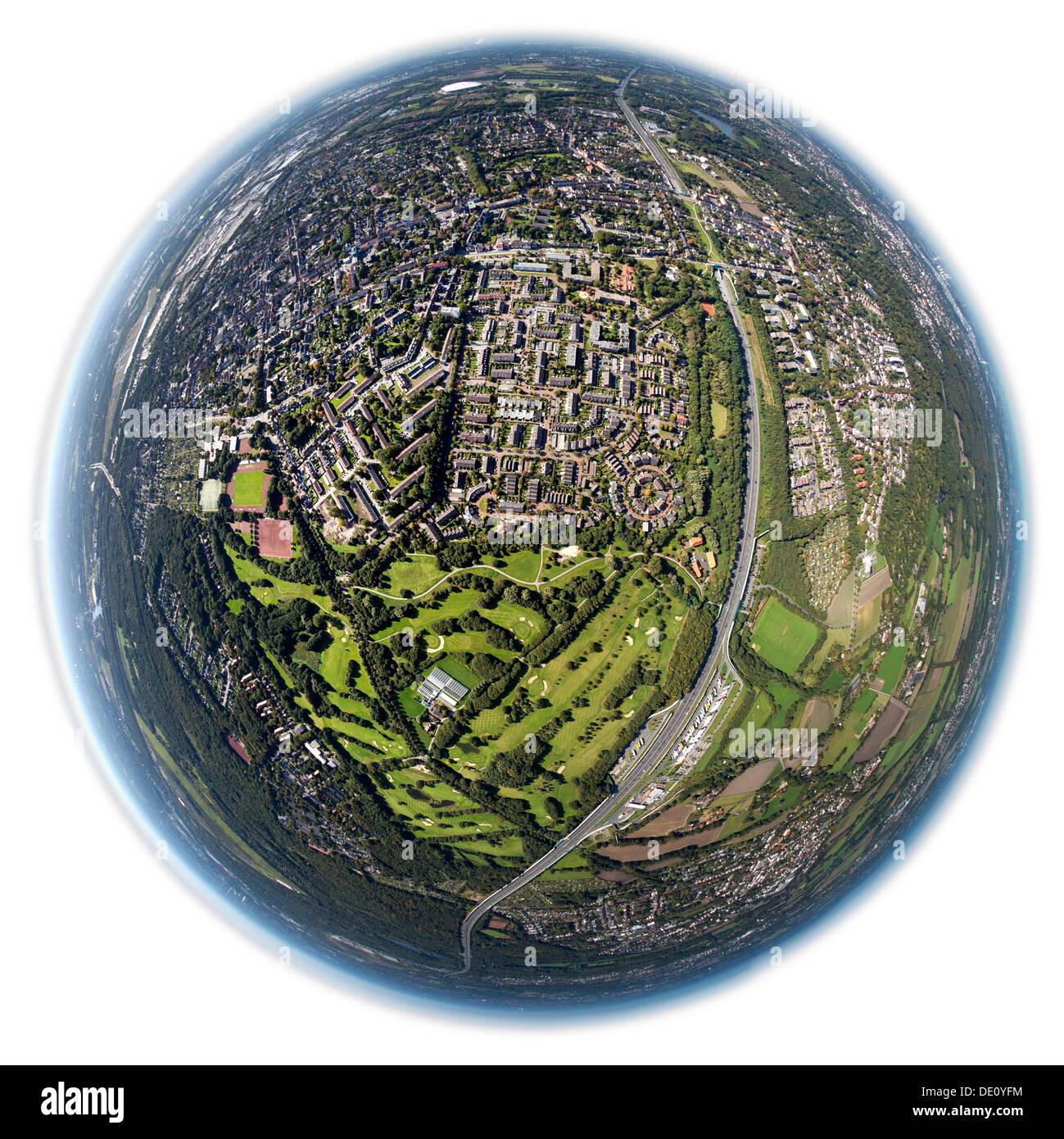 Aerial view, shot with a fisheye lens, Nesselrodeweg settlement and Bruchwiesenring circular settlement, Gelsenkirchen Golf Club - Stock Image