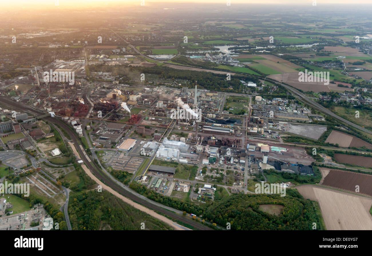 Aerial view, Bayer Uerdingen, Duisburger Strasse street, Krefeld, Rhineland region, North Rhine-Westphalia - Stock Image