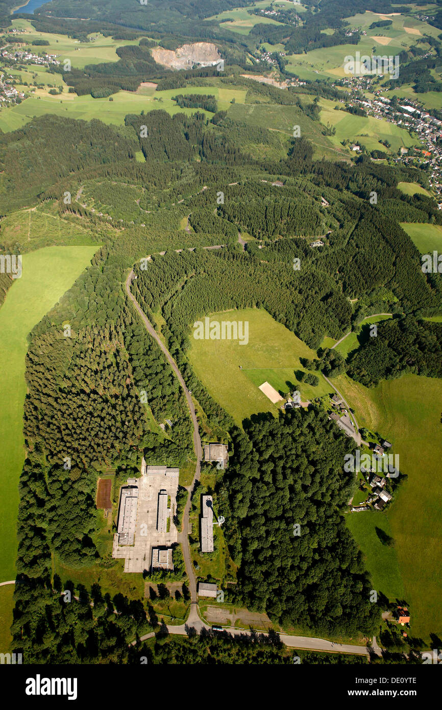 Aerial view, former barracks, proposed site for a forensic institute, Reichshof, Oberbergisches Land region - Stock Image