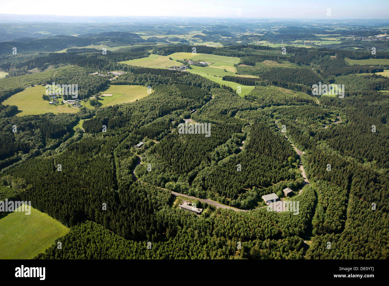 Aerial view, former barracks, proposed site for a forensic institute, Reichshof, Oberbergisches Land region Stock Photo