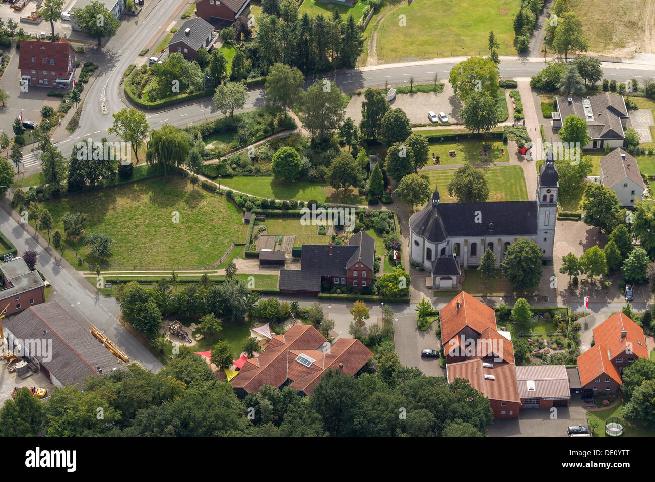 Aerial view, Parish Church of St. Vitus, Sankt Vit, Rheda-Wiedenbrueck, North Rhine-Westphalia - Stock Image