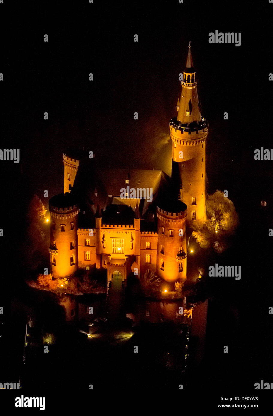 Aerial View Of Moyland Moated Castle Neo Gothic Style Night Shot Bedburg