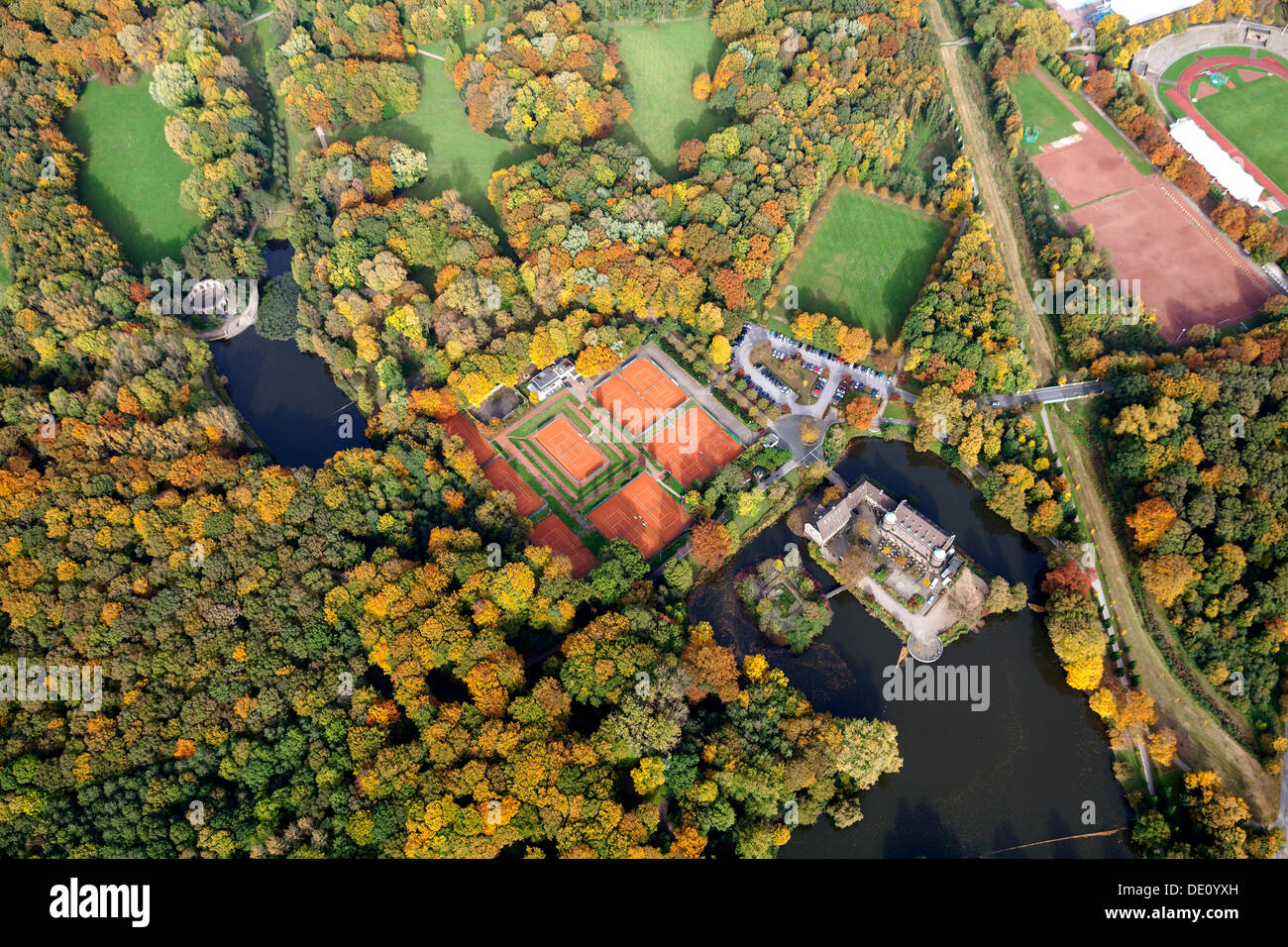 Aerial view, tennis clubhouse, Tennisclub Haus Wittringen TCHW e.V., Schloss Wittringen Palace with its gardens and urban forest - Stock Image