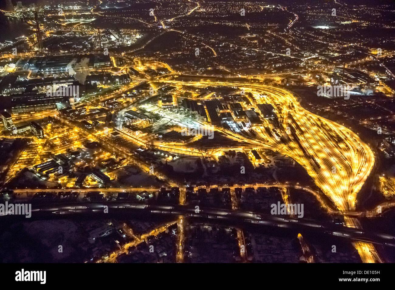 Aerial view, goods station in Duisburg-Hamborn, marshalling yard, ThyssenKrupp, Duisburg premises of ThyssenKrupp Steel AG - Stock Image