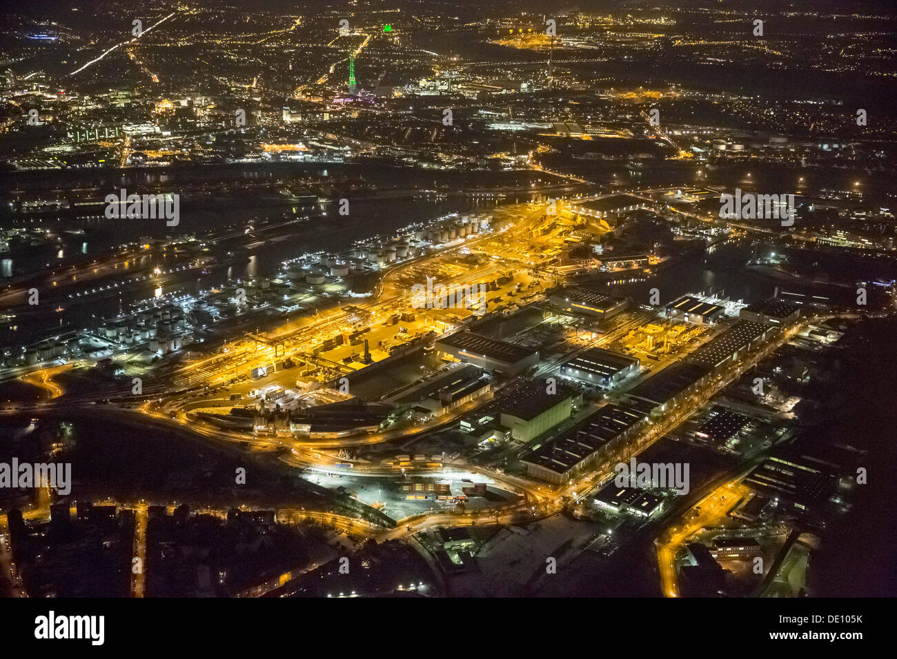 Aerial view, Ruhr port, Duisport, at night - Stock Image