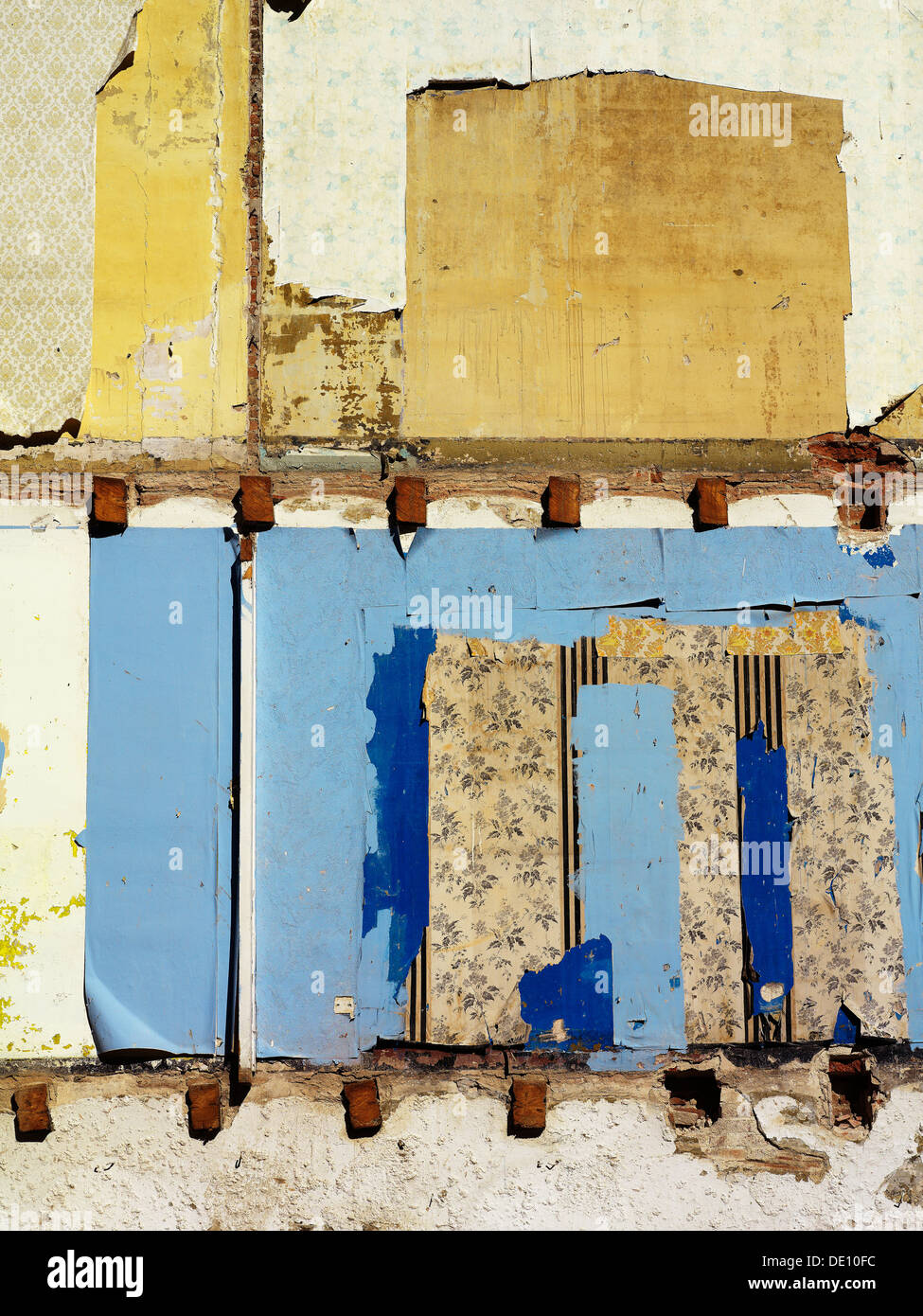 remaining wall of demolished building - Stock Image