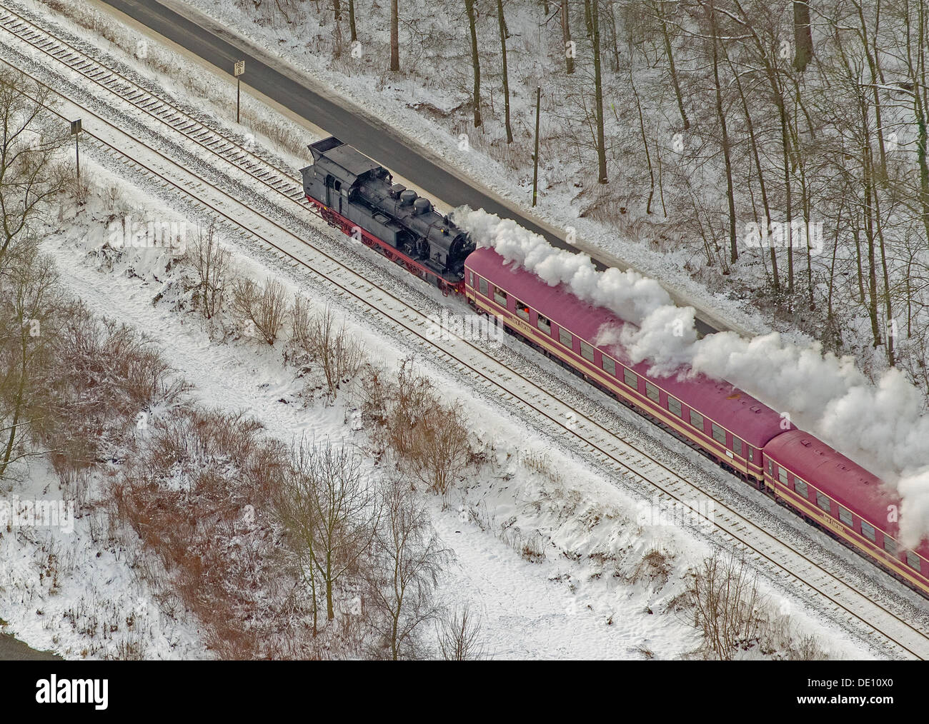 Aerial view, train, steam engine with passenger cars - Stock Image