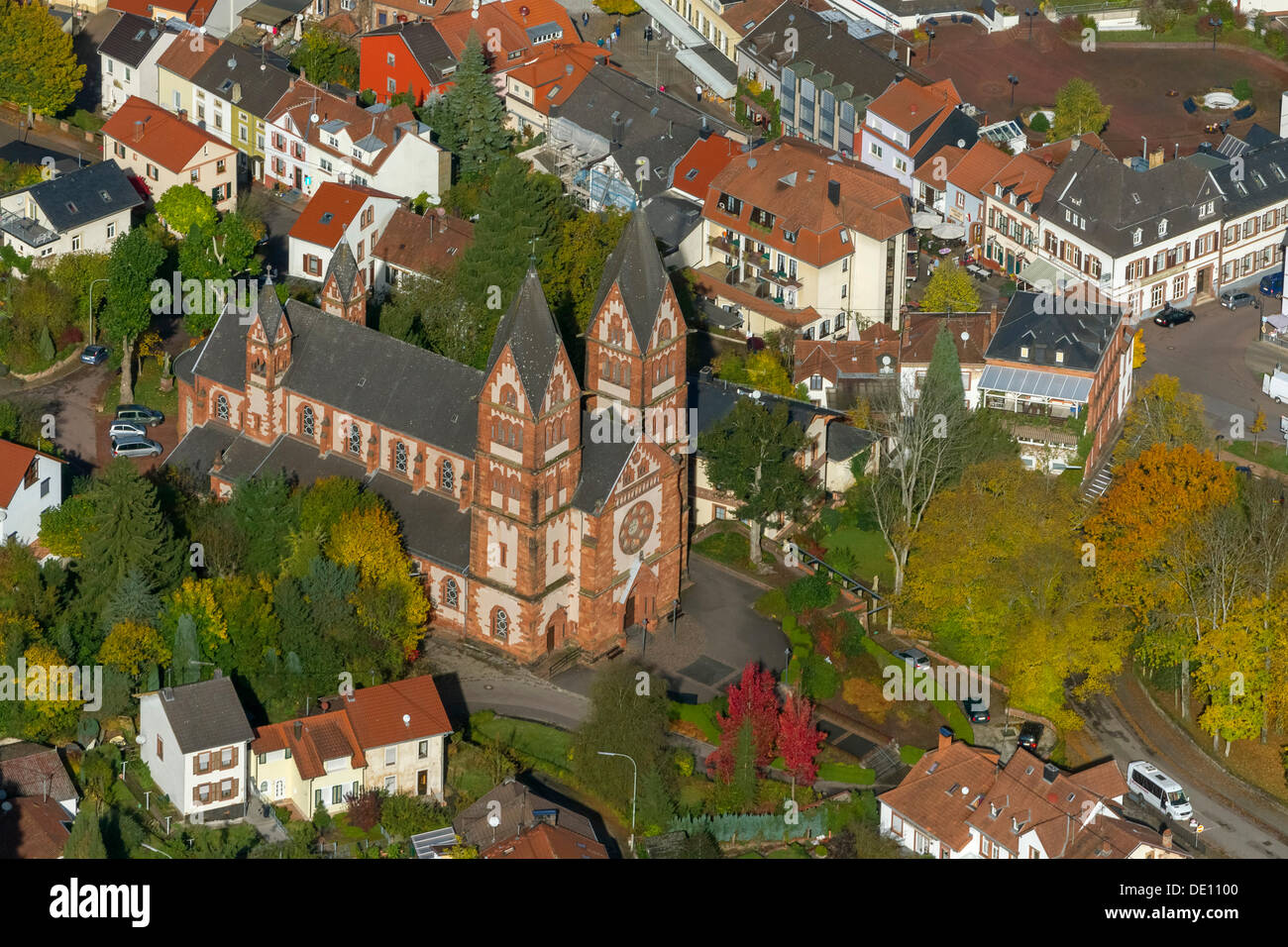 Aerial view, parish church of Saint Lutwinus - Stock Image