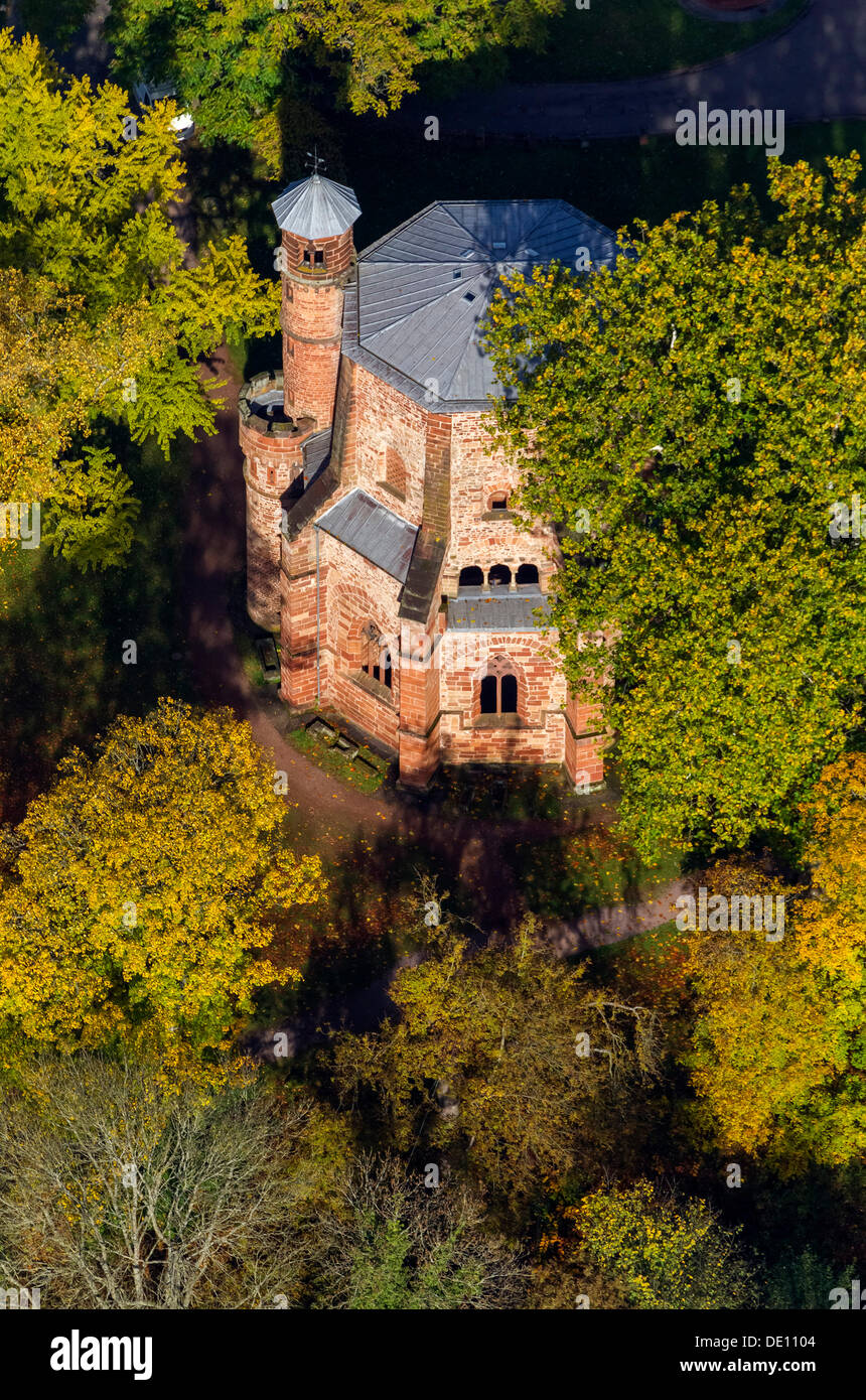 Aerial view, Old Tower, the oldest ecclesiastical building in the Saarland - Stock Image