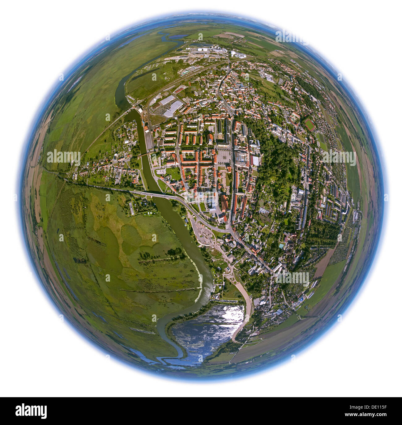 Aerial view, town centre of Anklam on the Peene River, fisheye shot - Stock Image