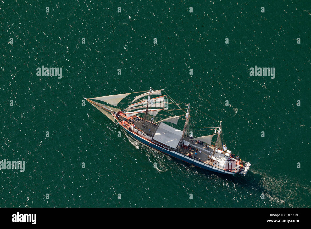 Aerial view, sailboat during the Hanse Sail Rostock Stock Photo