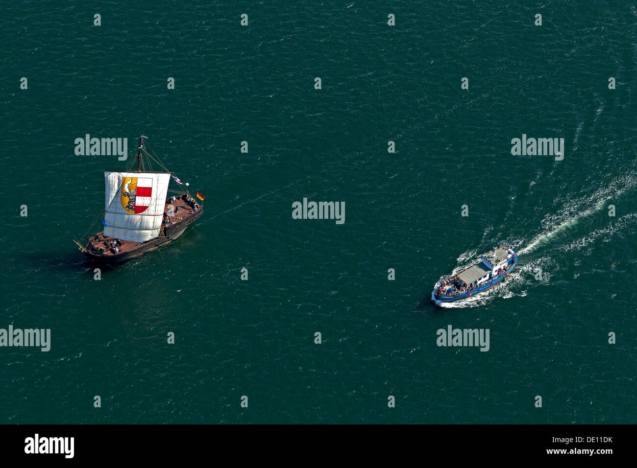 Aerial view, sailboats during the Hanse Sail Rostock Stock Photo