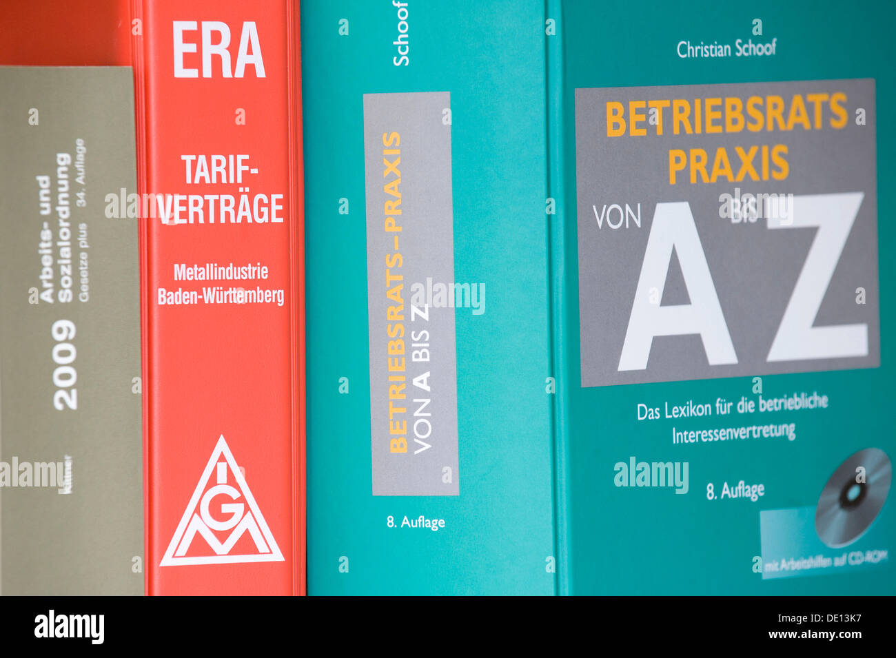 Books, German for labor regulations and social order, collective wage agreements, ERA, employee organization - Stock Image