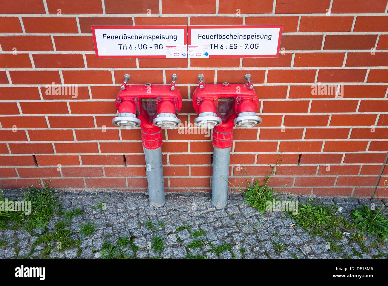 Riser for fire brigade, fire-fighting water supply - Stock Image