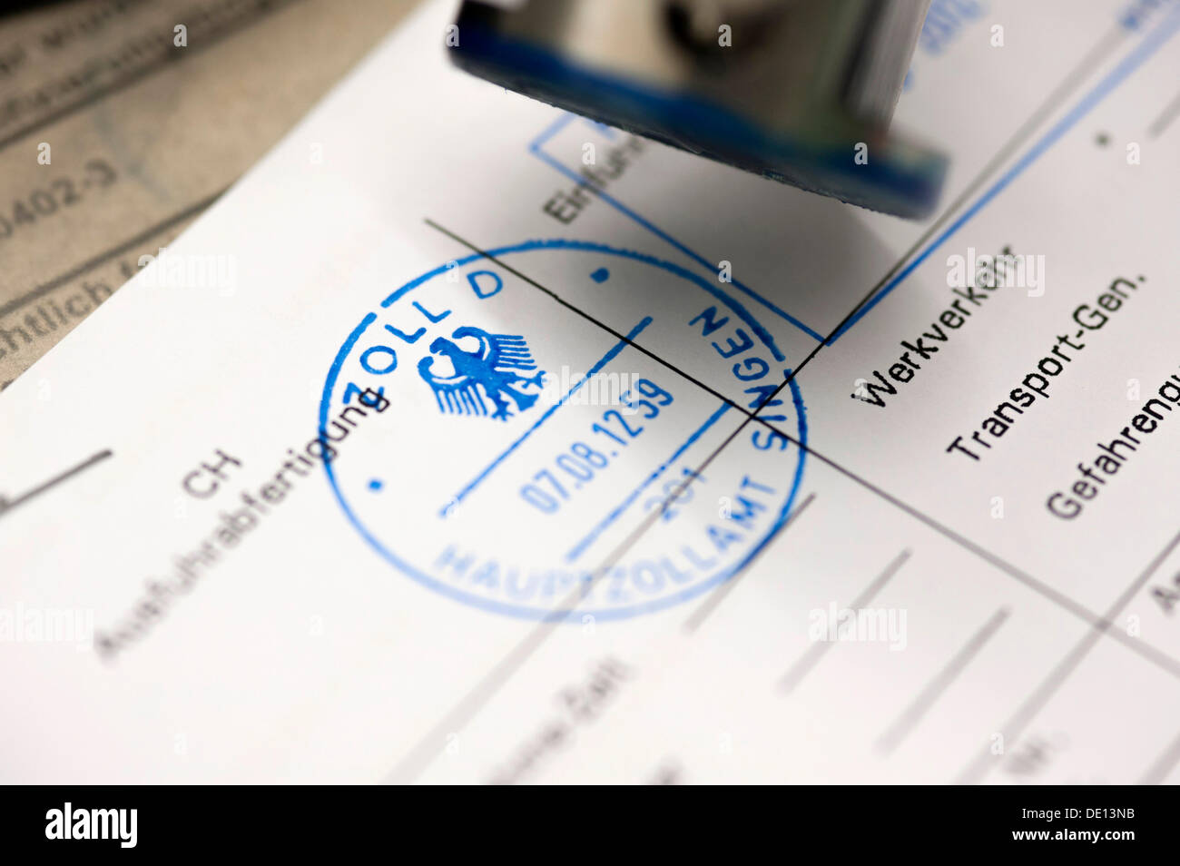 Customs seal, stamping of documents, clearance of goods, Singen central customs office, border crossing between Germany and - Stock Image