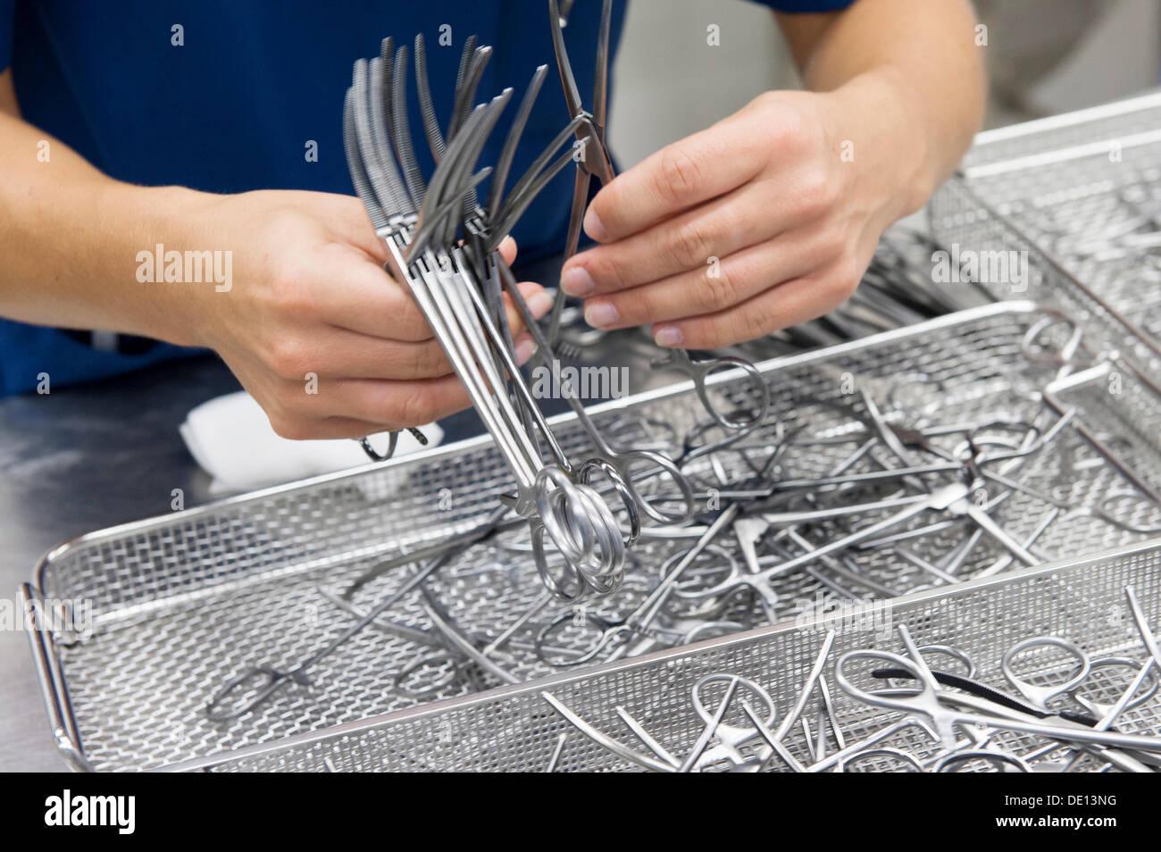 Assembly of instrument sets, Zentrale Sterilgutversorgungsabteilung, Central Sterile Supply Department - Stock Image