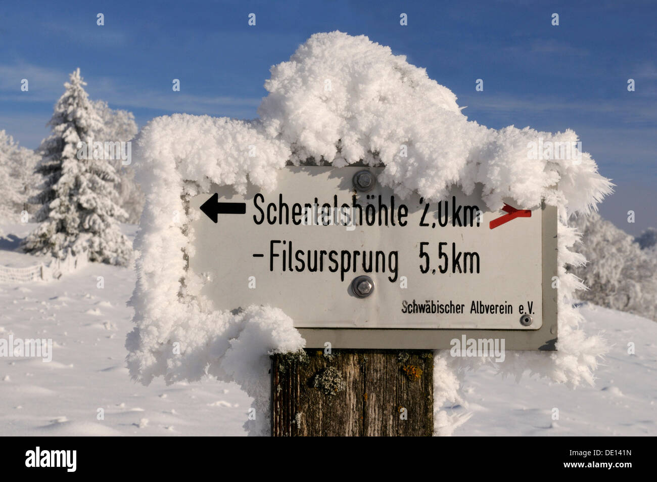 Signpost in the Biosphaerengebiet Schwaebische Alb biosphere reserve, Swabian Alb, Baden-Wuerttemberg - Stock Image