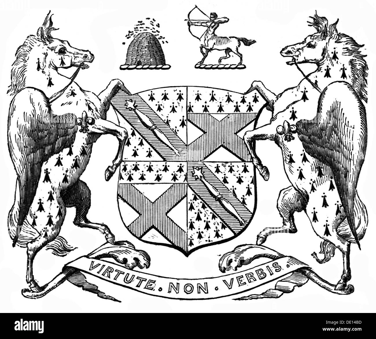 heraldry, coat of arms, Great Britain, coat of arms of the Marquess of Lansdowne, wood engraving, 19th century, Stock Photo