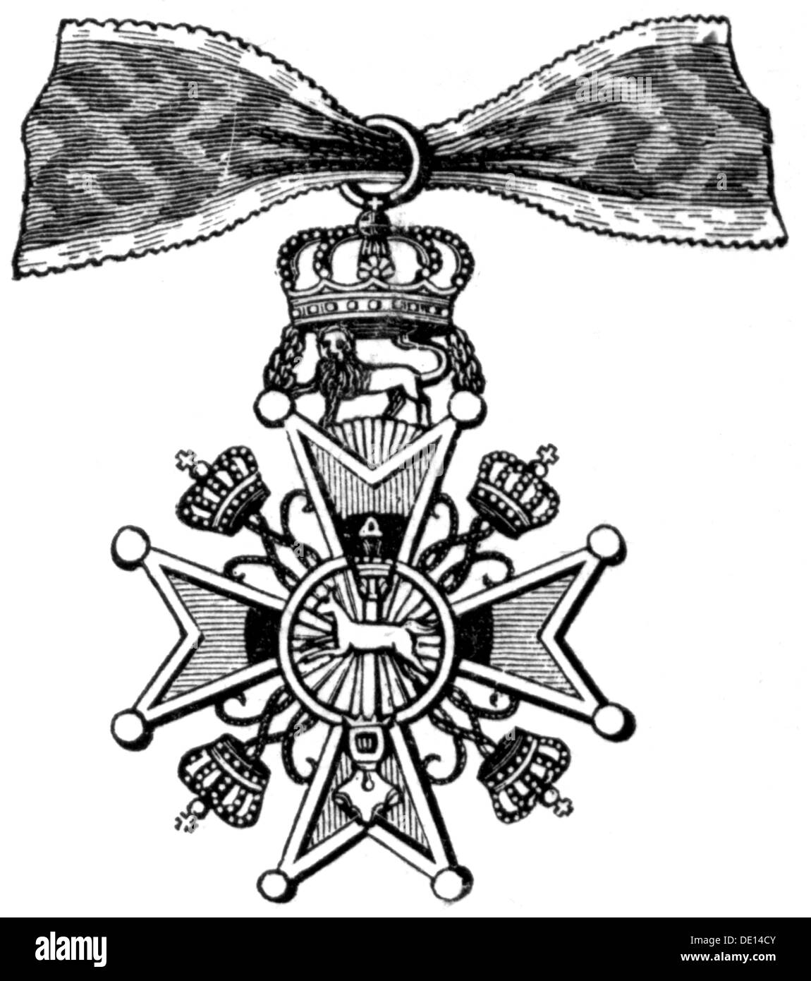 medals and decorations, Germany, Brunswick, Order of Henry the Lion, founded 25.4.1834 by Duke William of Brunswick, badge, wood engraving, 2nd half 19th century, house order, House of Welf, Welfs, military order of merit, Maltese cross, cross, crosses, ribbon, ribbons, military order, orders of merit, Order of Merit, military, armed forces, Duchy of Brunswick, medal, decoration, medals, decorations, lion, lions, historic, historical, Additional-Rights-Clearences-NA - Stock Image