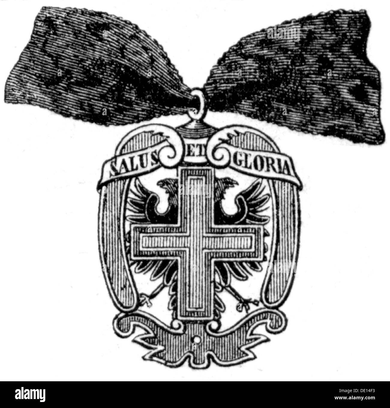 decorations, Austria, Order of the Starry Cross, founded on 18.9.1668 by Empress Eleanor, badge, wood engraving, 2nd half 19th century, Ladies' Order, cross, crosses, eagles, double-headed eagle, two-headed eagle, double, Austrian Empire, founded, founding, historic, historical, Additional-Rights-Clearences-NA - Stock Image