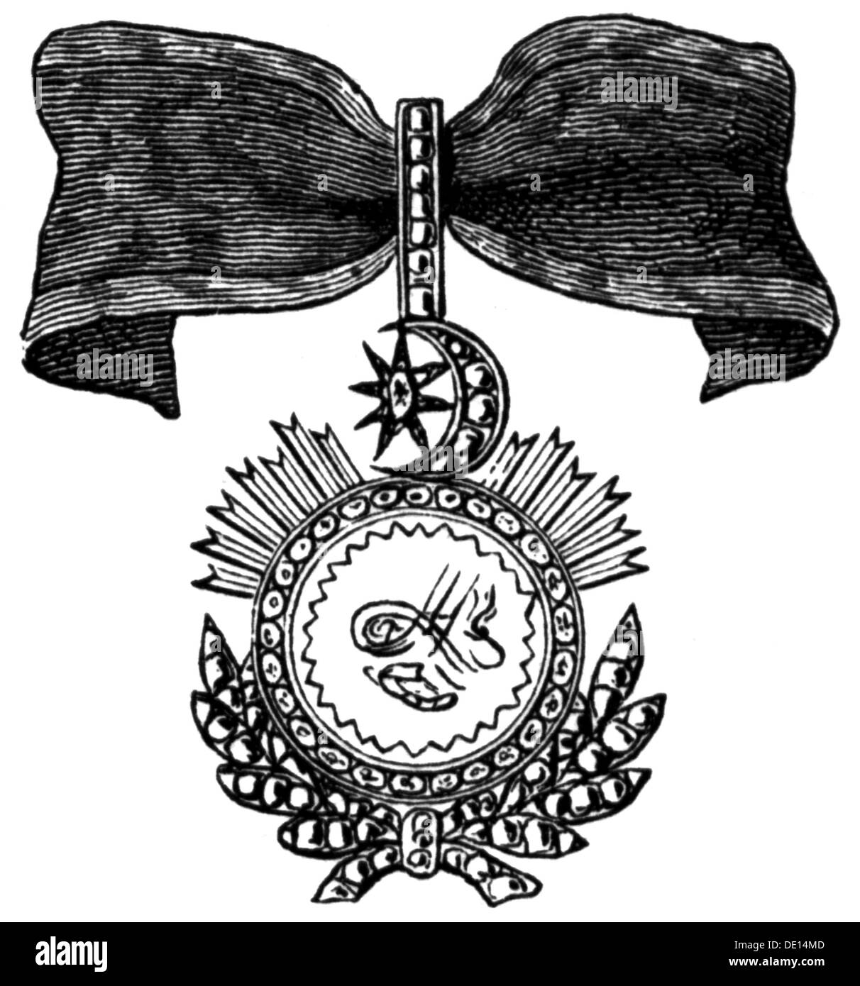 medals and decorations, Turkey, Order of Glory (Nisan-i Iftihar), founded 19.8.1831 by Sultan Mahmud II, badge, version for foreigners, wood engraving, 2nd half 19th century, OM, orders of merit, member of the Order of Merit, Officer of the Order of the British Empire, OBE, ribbon, ribbons, Ottoman Empire, version, versions, foreigner, historic, historical, Additional-Rights-Clearences-NA - Stock Image