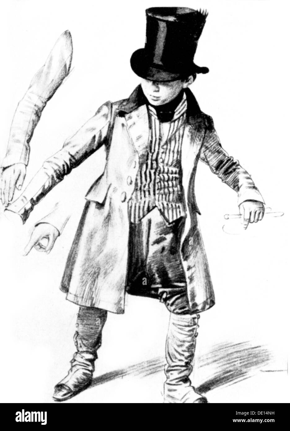 fashion, 19th century, boy in livery, drawing by Franz Kugler (1808 - 1858), 19th century, 19th century, graphic, graphics, clothes, outfit, outfits, men's fashion, livery, servant, servants, manservant, menservants, occupation, occupations, headpiece, headpieces, tophat, top hat, tophats, top-hat, topper, high hat, top-hats, toppers, high hats, frock coat, waistcoat, waistcoats, vest, gaiter, puttee, gaiters, puttees, full length, domestics, historic, historical, male, boy, child, people, Additional-Rights-Clearences-NA - Stock Image