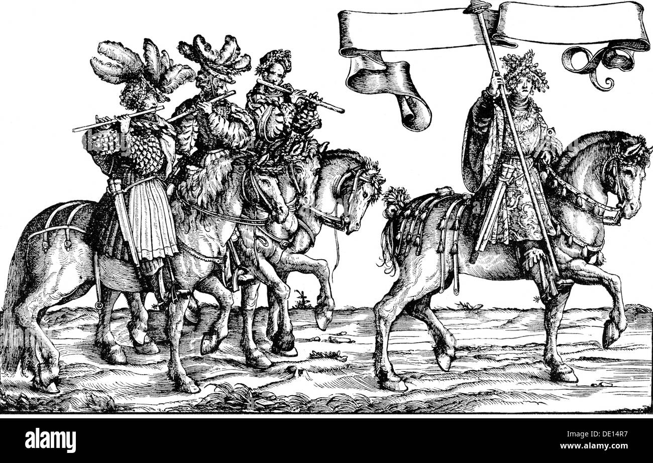 music, musicians, pipers, woodcut, Triumphal Procession of Emperor Maximilian I, 1526, Additional-Rights-Clearences-NA - Stock Image