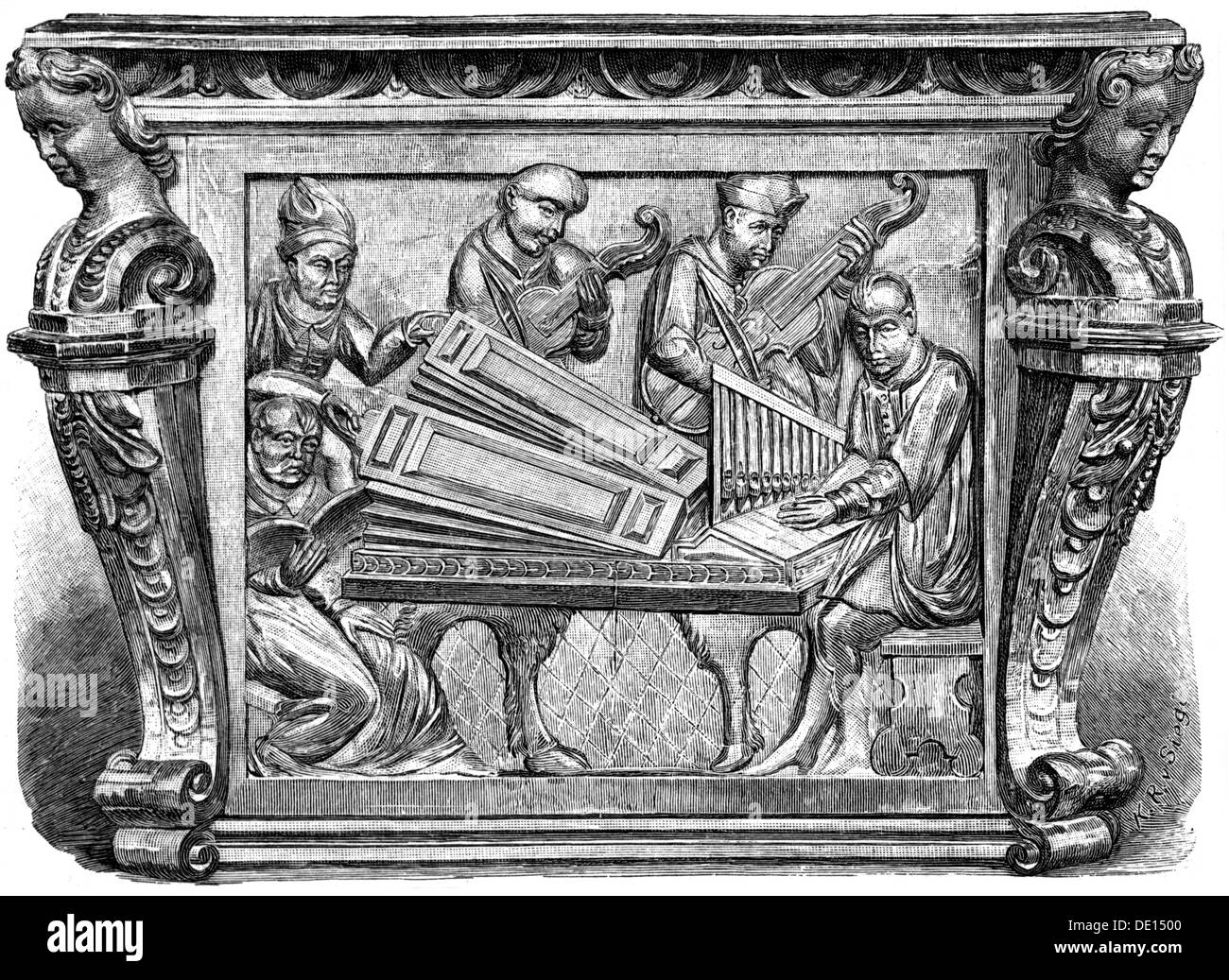 music, musicians, organist and strings, high relief on a music desk, Galicia, 1633, Additional-Rights-Clearences - Stock Image