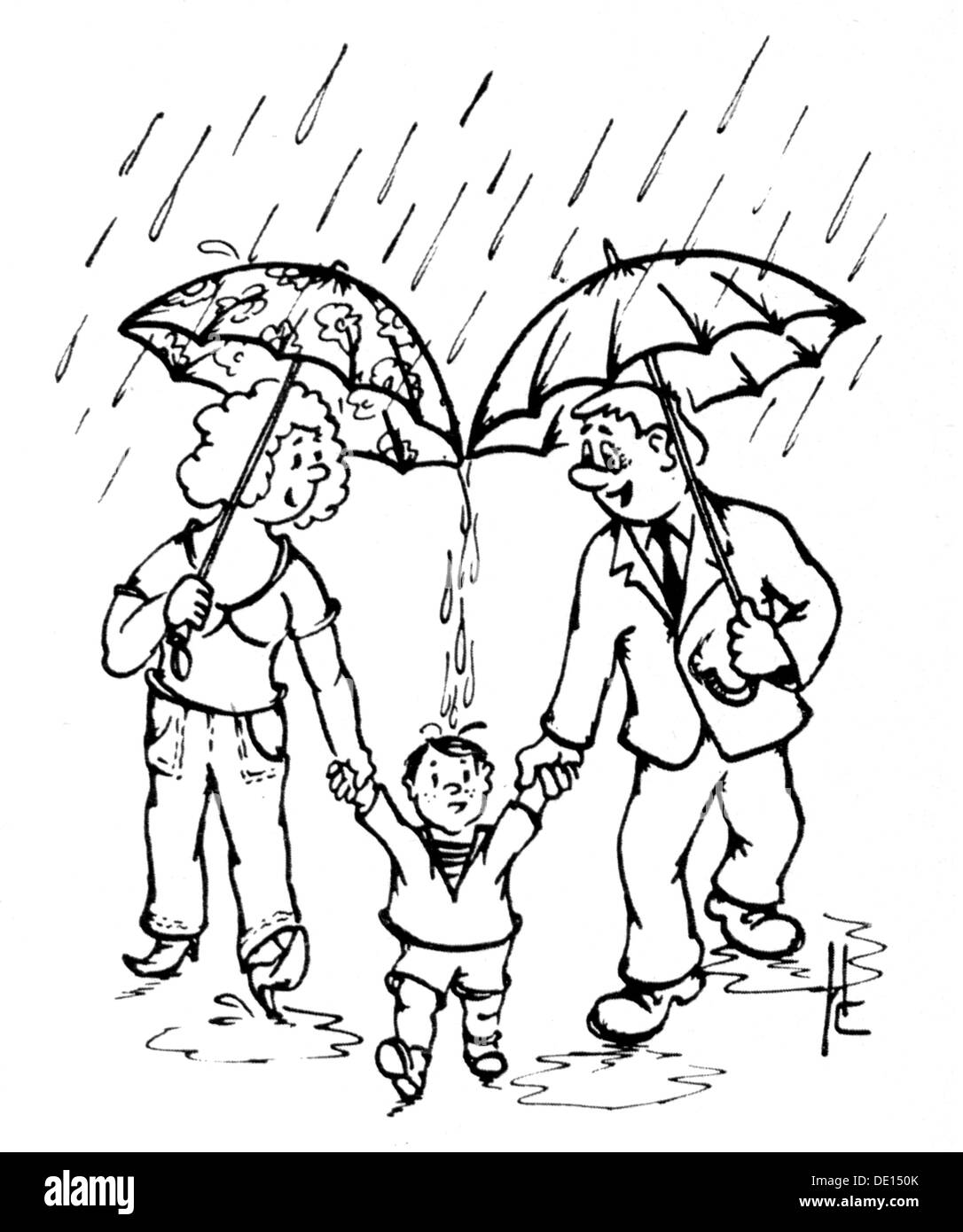 Fashion Accessories Parents And Child In Rain Drawing By