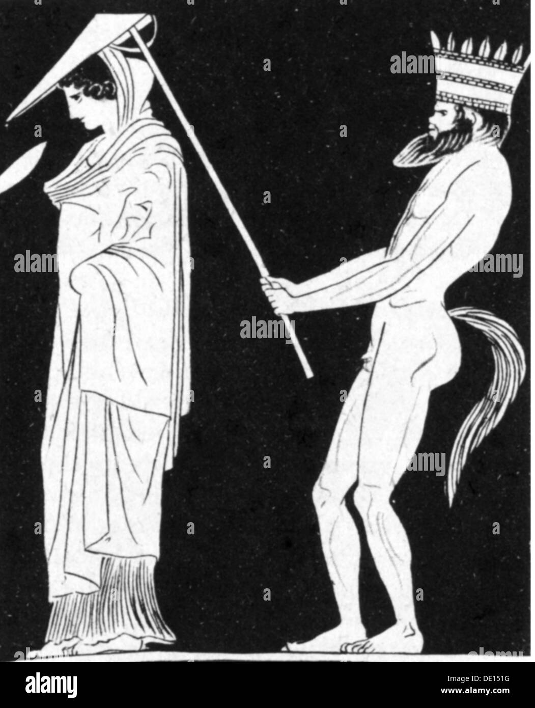 fashion, accessories, Greek lady with satyr carrying shade, after Ancient Greek vase, wood engraving, 19th century, 19th century, ancient world, ancient times, Greece, graphic, graphics, caricature, caricatures, humor, humour, satire, shade, shades, sunshade, sunshades, full length, standing, holding, hold, servant, servants, manservant, menservants, satyr, mythological creatures, mythical creature, fabulous creature, fabulous being, mythological creature, mythical creatures, fabulous creatures, fabulous beings, fabulous animal, fabulous animals, crown, crowns,, Additional-Rights-Clearences-NA - Stock Image