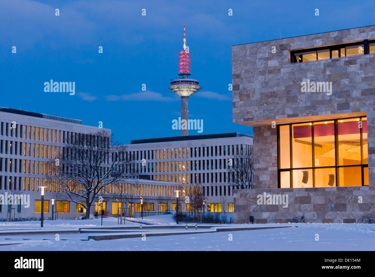 Early morning on the Campus Westend of Goethe University, lecture halls on the right, buildings of the faculty of law and - Stock Image