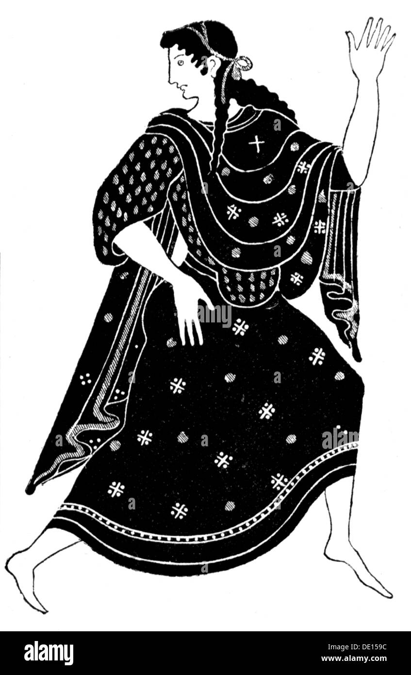 fashion, ancient world, Greece, archaic women's clothing, wood engraving, out of: Hugo Blümner, 'Leben und Sitten der Griechen', Leipzig - Prague, 1887, Additional-Rights-Clearences-NA - Stock Image