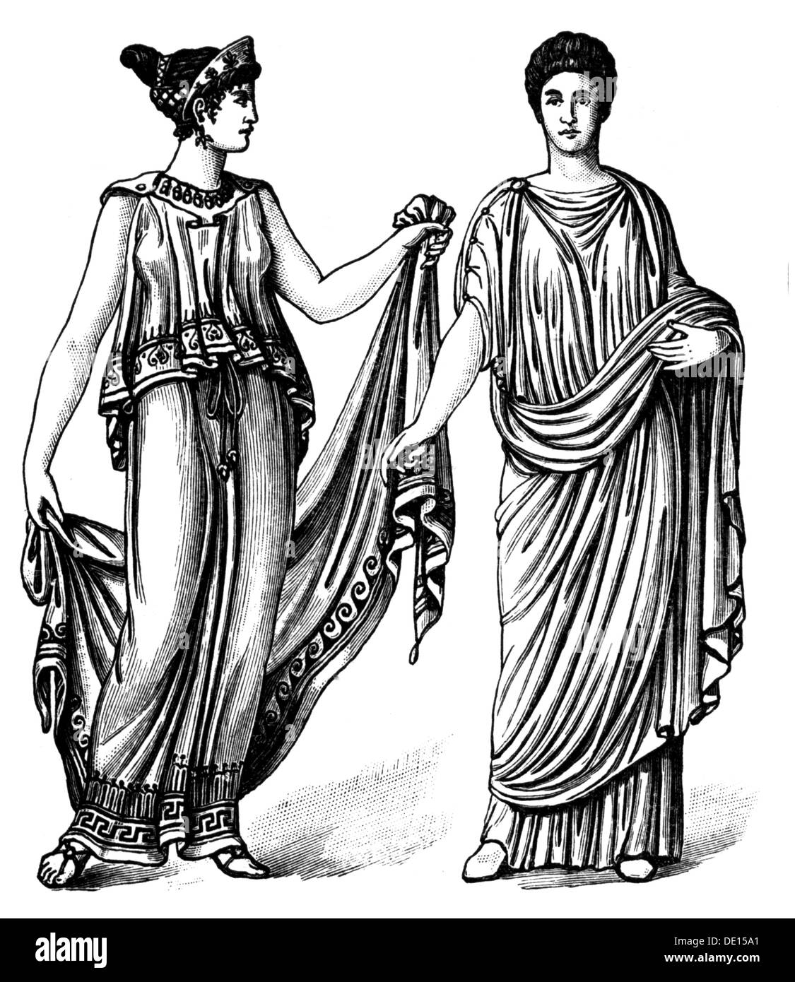 Fashion, Ancient World, Greek Womenu0027s Clothing, Circa 450 BC, Roman Womenu0027s  Clothing