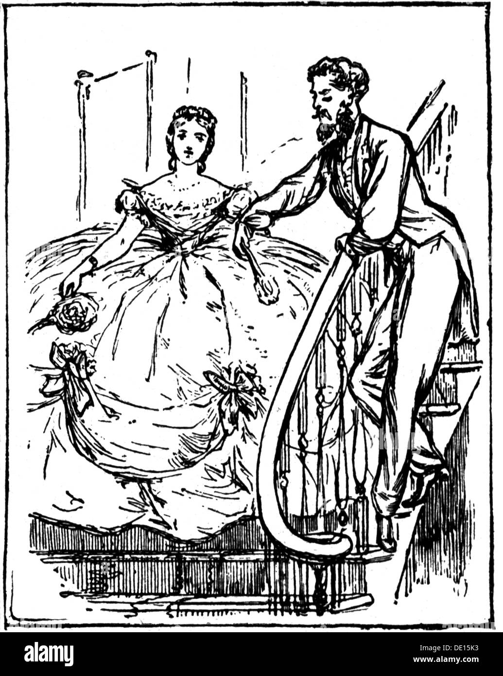 fashion, 19th century, woman in dress with crinoline, wood engraving, family magazine, 1840, Additional-Rights-Clearences-NA - Stock Image