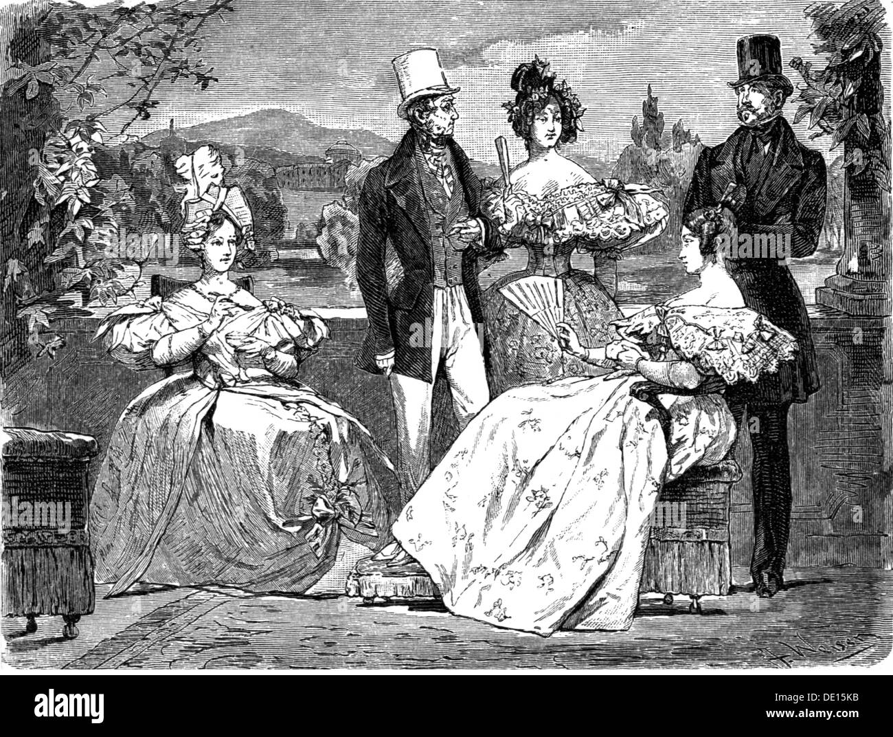fashion, 19th century, women in dresses with decollete, wood engraving by Weise, fashion magazine, Vienna, circa 1835, Additional-Rights-Clearences-NA - Stock Image