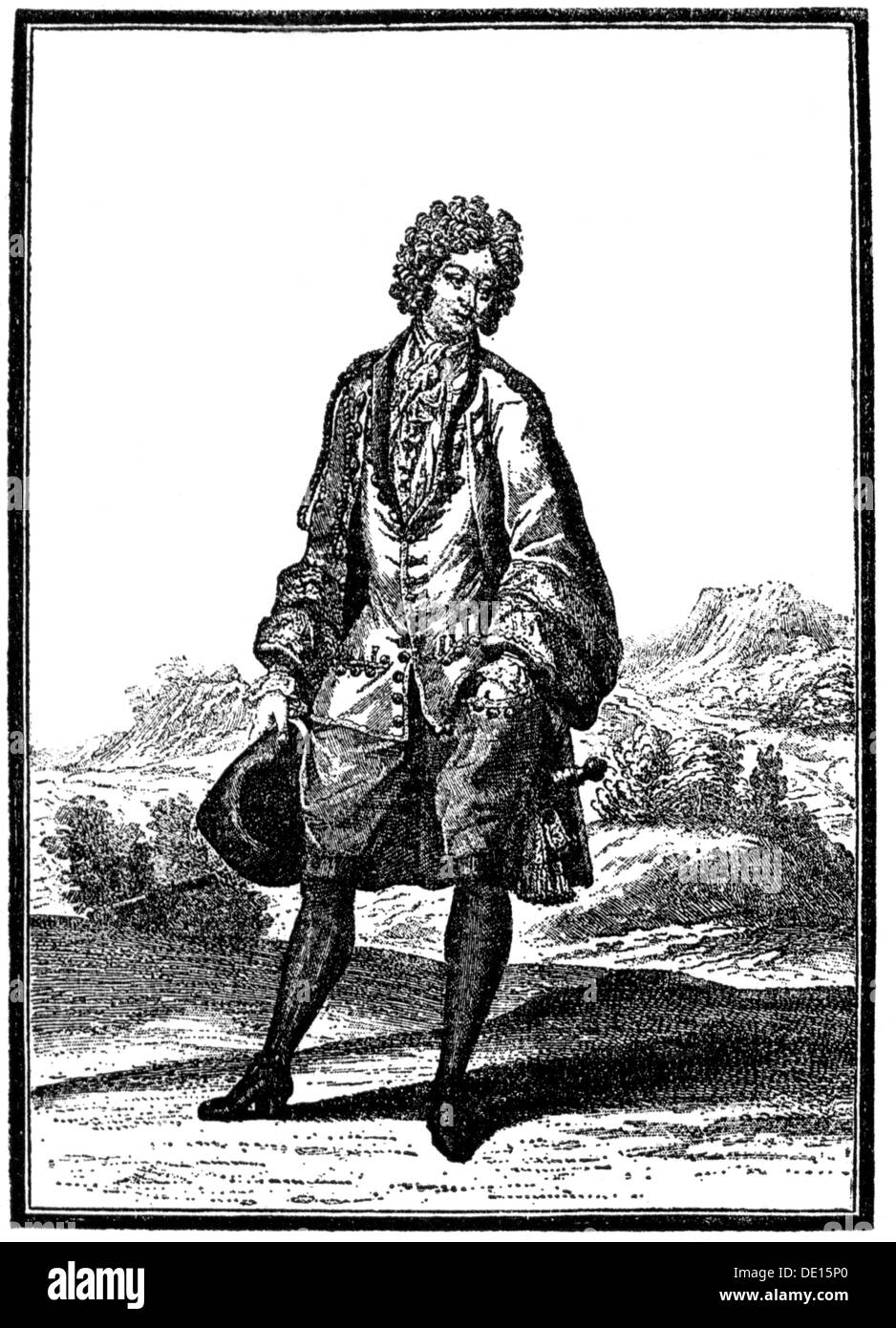 fashion 17th century aristocrat in summer clothes copper engraving France second half 17th century 17th century - Stock Image