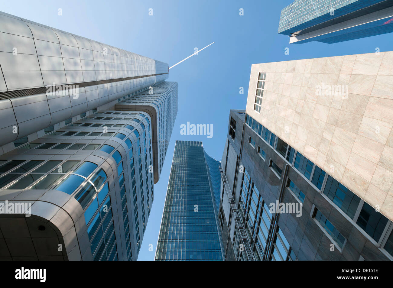 Silberturm or Silver Tower and other skyscrapers, Bankenviertel, Frankfurt am Main, Hesse, Germany - Stock Image