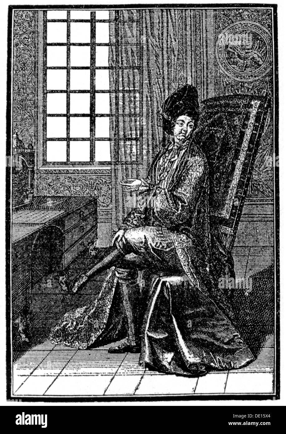 fashion 17th century aristocrat in indoor dress copper engraving France second half 17th century 17th century graphic - Stock Image